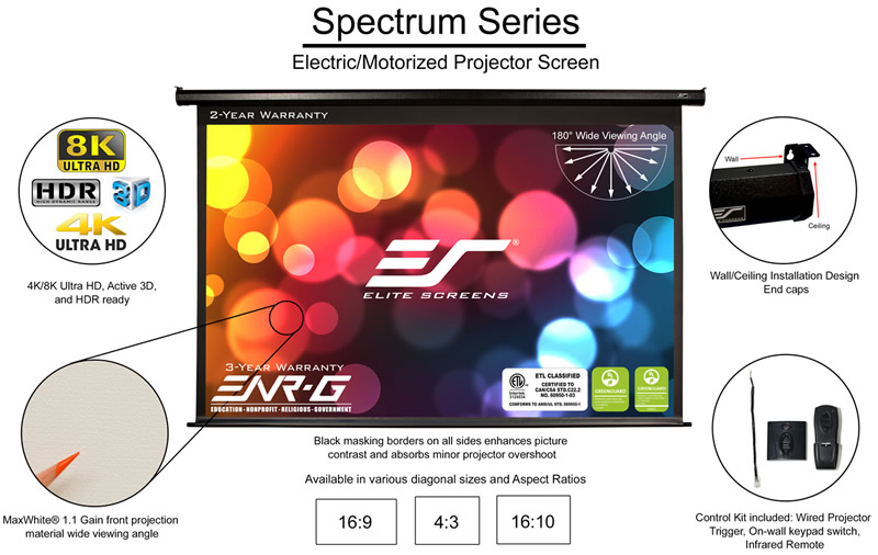 Elite Screens electric motorised Projector Screen