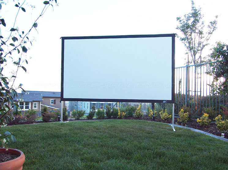 elite screens outdoor projector screen at just projectors