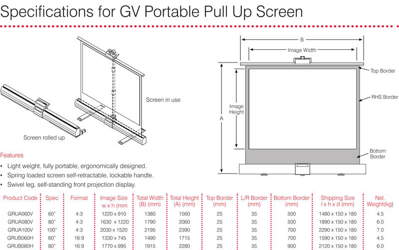 Grandview Pull Up Screen Specifications