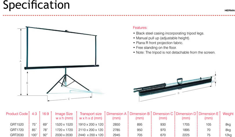 Tripod Screen Specifications