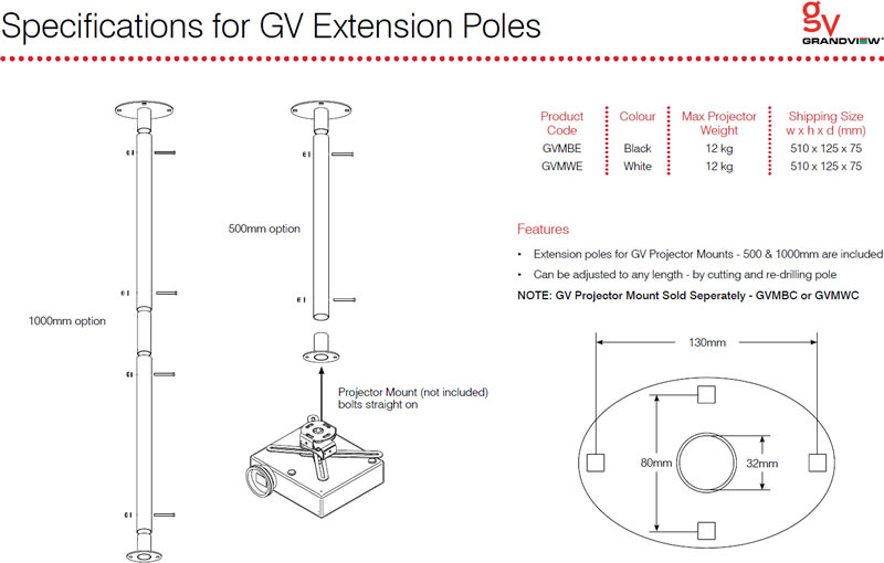 Projector Extension Pole