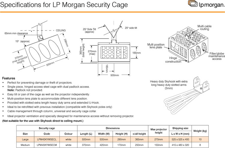 Projector Security Cage Specifications